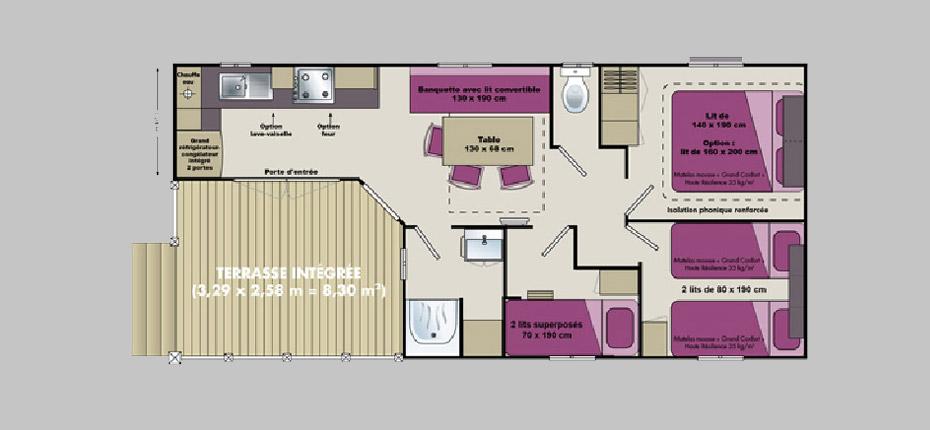 Plan du mobil-home modele 11 sur Oléron