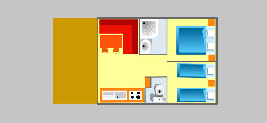 plan de la location mobil-home 4 pers. avec terrasse couverte 2 chambres camping Oléron