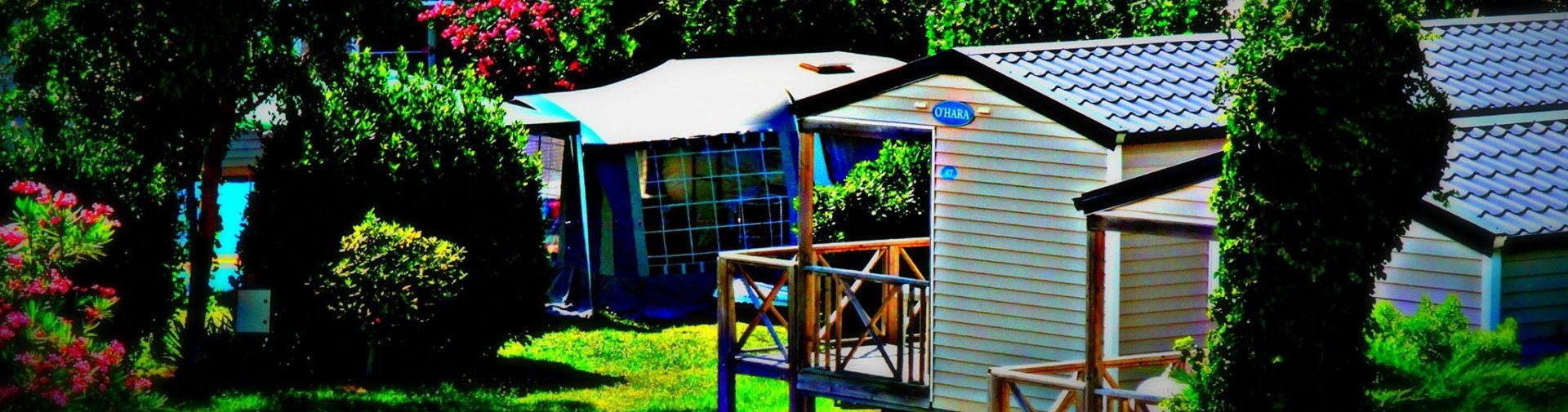 location mobile home 4pers terrasse couverte camping oleron